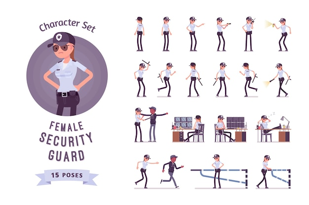 Jeu de caractères de garde de sécurité féminin
