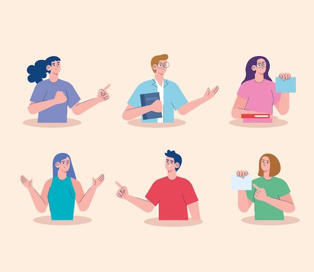 Jeu de caractères de groupe de six étudiants