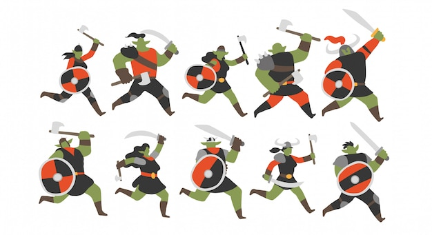 Jeu de caractères des guerriers orcs