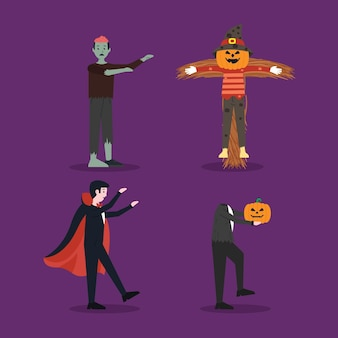 Jeu de caractères halloween design plat