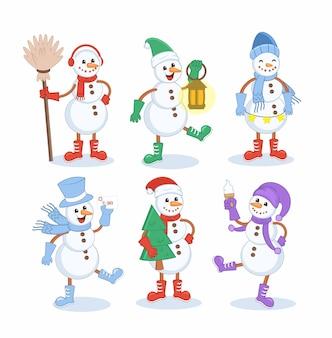 Jeu de caractères happy snowman hiver chrismast