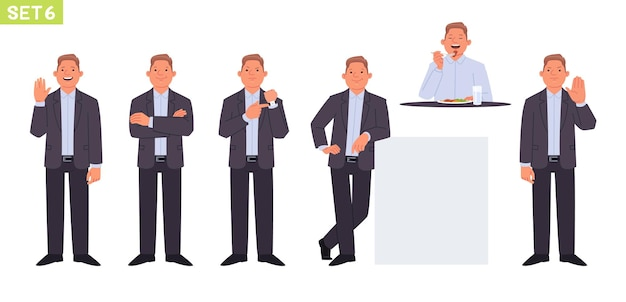 Jeu de caractères d'homme d'affaires gestionnaire d'homme dans diverses poses et situations geste de salutation de personne