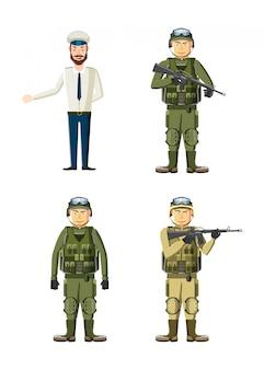 Jeu de caractères d'homme d'armée. jeu de dessin animé d'un homme de l'armée