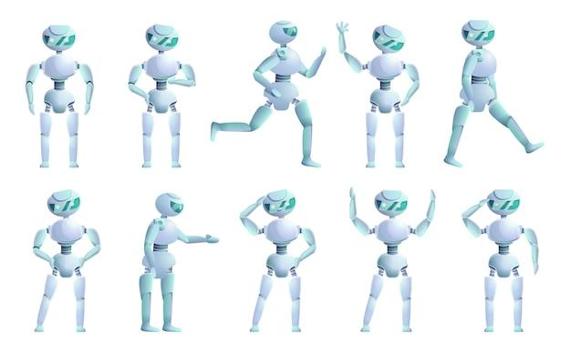 Jeu de caractères humanoïdes, style cartoon