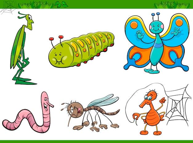 Jeu de caractères insectes dessin animé