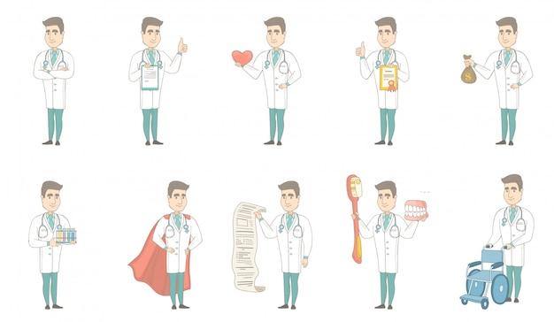 Jeu de caractères jeune médecin caucasien