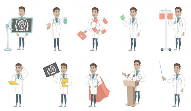 Jeu de caractères jeune médecin hispanique