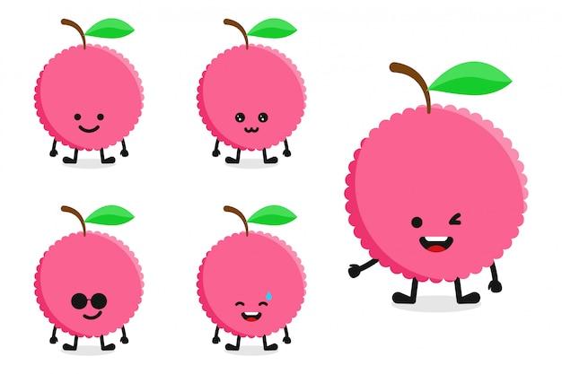 Jeu de caractères de litchi aux fruits