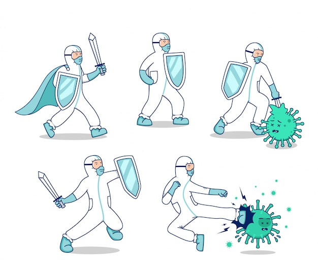 Jeu de caractères lutte contre l'illustration du virus corona covid, médecin avec l'épée de costume hazmat et le bouclier lutte contre les bactéries de virus personnage mascotte pose set concept