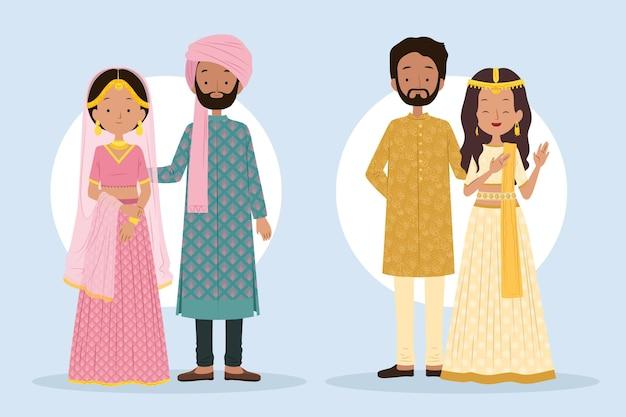 Jeu de caractères de mariage indien