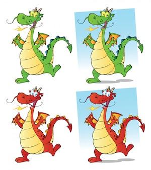 Jeu de caractères mascotte dessin animé dragon.