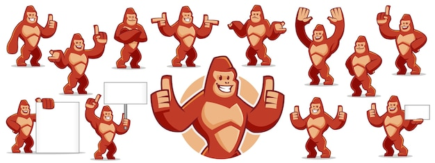 Jeu de caractères mascotte gorille
