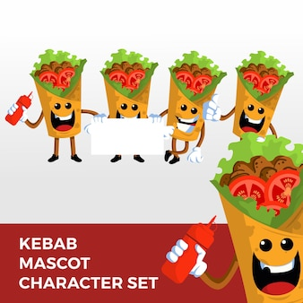 Jeu de caractères de mascotte kebab