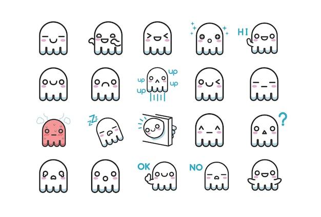 Jeu de caractères mignon autocollant fantôme blanc avec plusieurs expressions