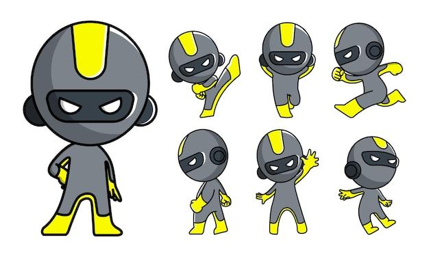 Jeu de caractères mignon robot ninja mascotte