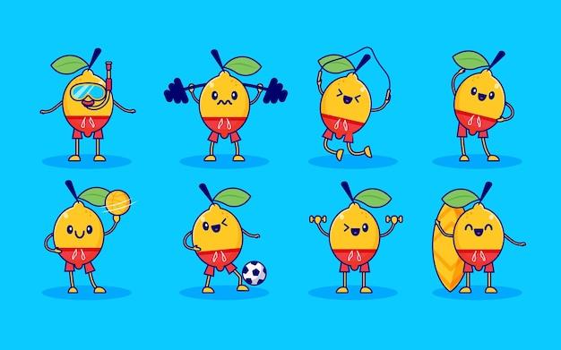 Jeu de caractères mignons de fruits au citron