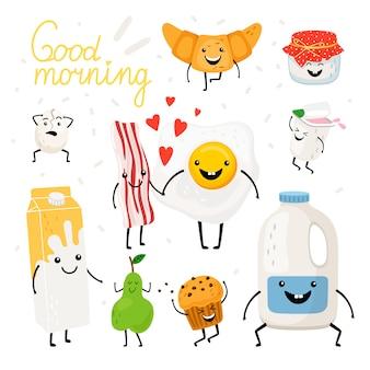 Jeu de caractères de nourriture de petit déjeuner