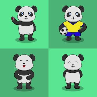 Jeu de caractères panda cartoon