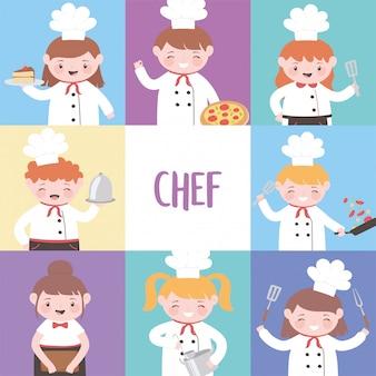 Jeu de caractères de personnage de dessin animé enfants cuisiniers