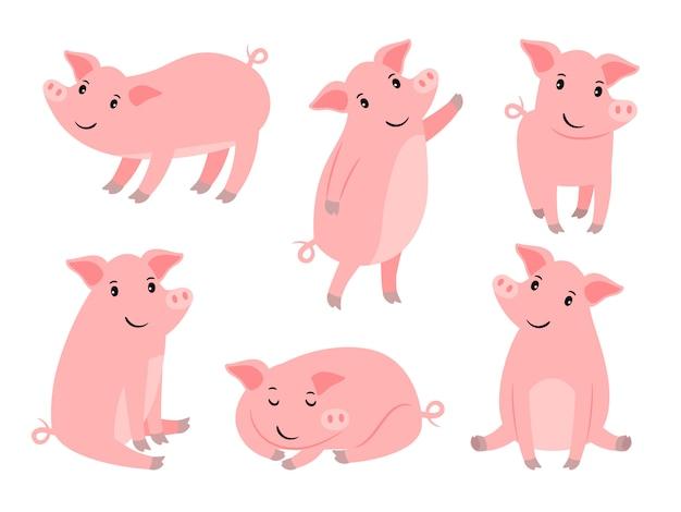 Jeu de caractères petit cochon