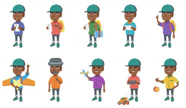 Jeu de caractères petit garçon africain