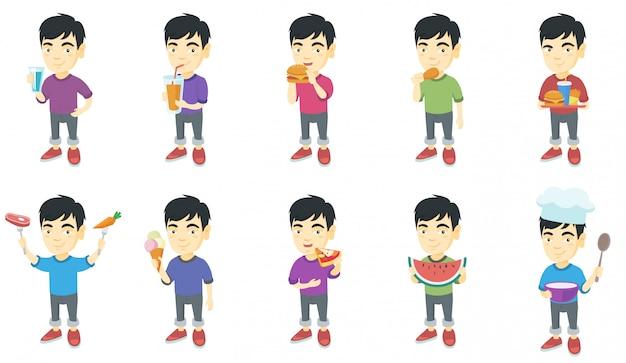 Jeu de caractères petit garçon asiatique