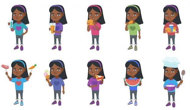 Jeu de caractères petite fille africaine