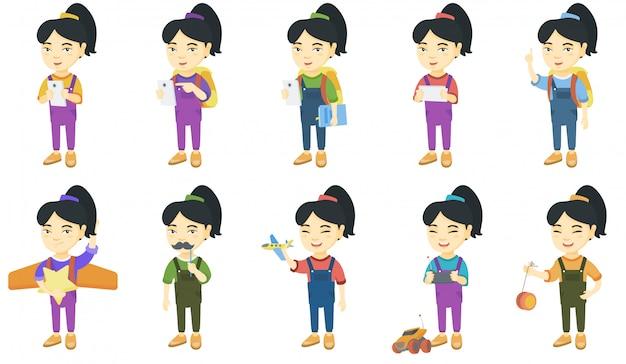 Jeu de caractères de petite fille asiatique