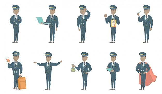 Jeu de caractères de pilote d'avion africain