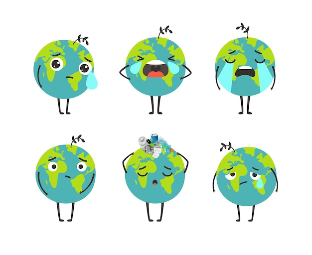 Jeu de caractères de la planète pollution