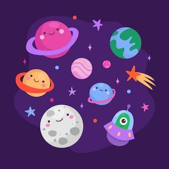 Jeu de caractères de planètes mignonnes