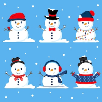 Jeu de caractères plat bonhomme de neige