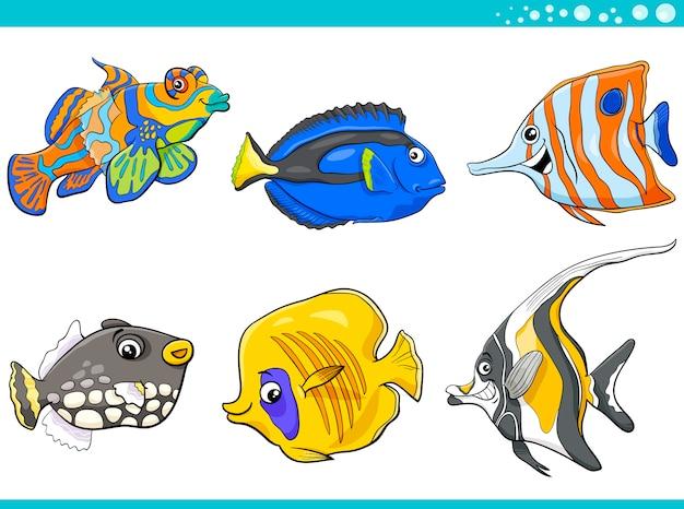 Jeu de caractères poisson vie mer
