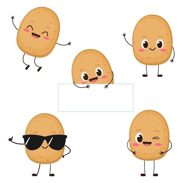 Jeu de caractères de pomme de terre heureux mignon