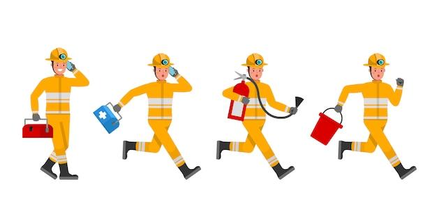 Jeu de caractères pompier. présentation en diverses actions