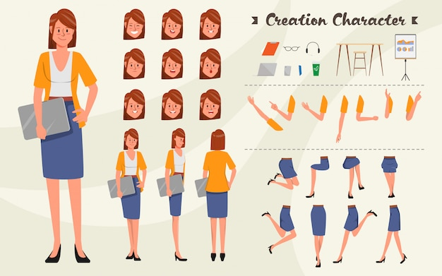 Jeu de caractères pour l'animation. caractère de femme d'affaires jeune pour animé avec visage d'émotions.