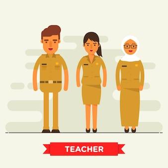 Jeu de caractères de professeur plat