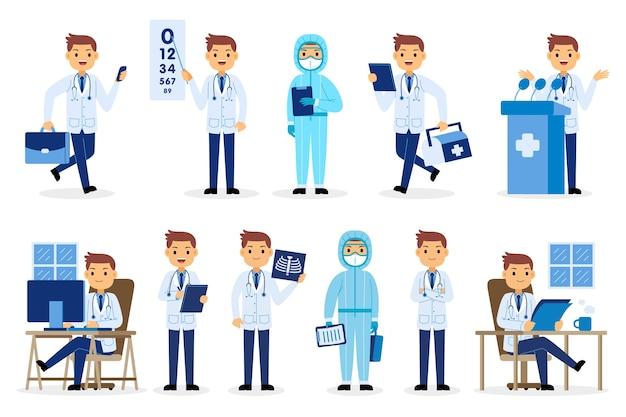 Jeu de caractères de la profession de médecin