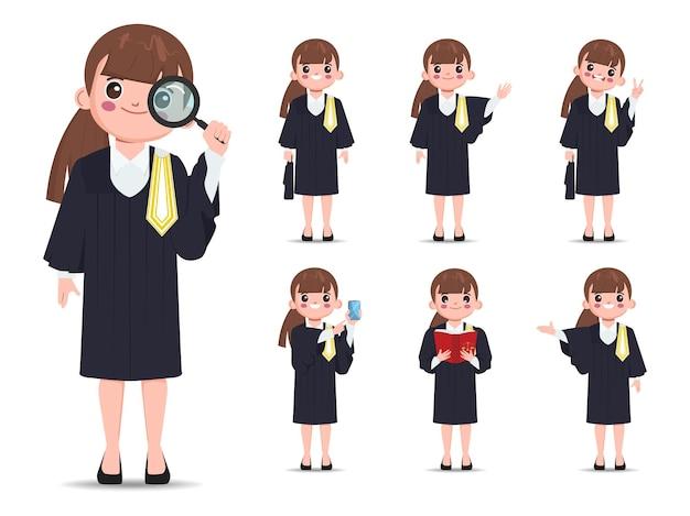 Jeu de caractères de professions juridiques avocat thaïlandais conception de vecteur d'avocat de dessin animé plat