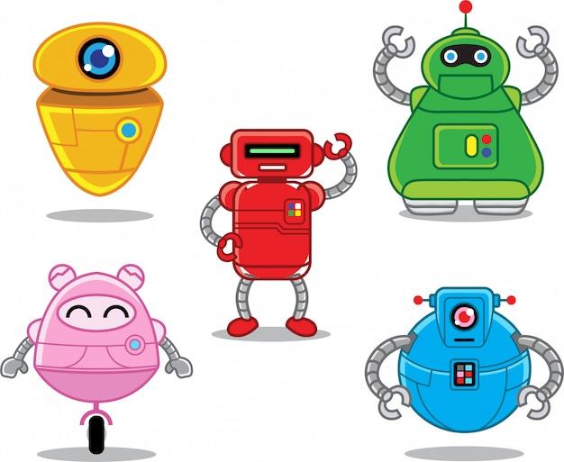 Jeu de caractères de robot plat