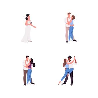 Jeu de caractères sans visage couleur plat couple
