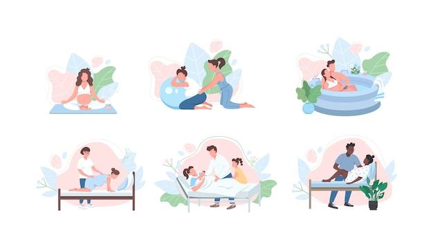 Jeu de caractères sans visage de couleur plate de soins prénatals