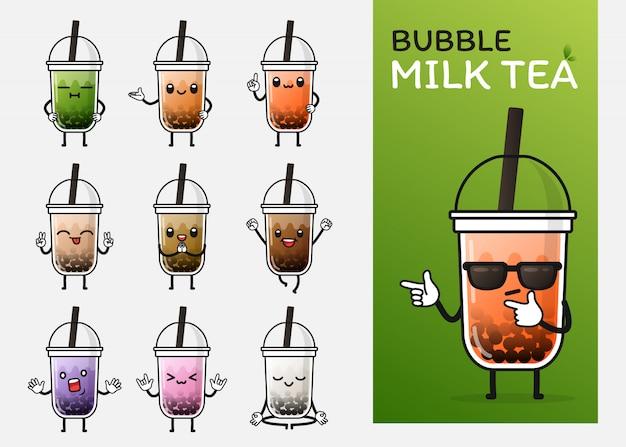 Jeu de caractères de thé au lait aux bulles mignon pour illustration ou mascotte