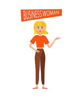 Jeu de caractères de travail de femme d'affaires. la fille montre sa main et son index.