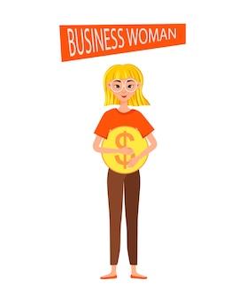 Jeu de caractères de travail de femme d'affaires. la fille pointe vers l'icône du dollar.