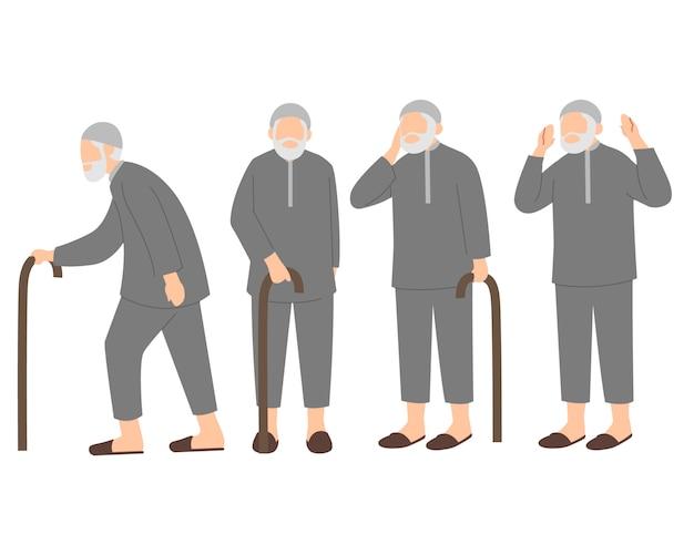 Jeu de caractères de vieux hommes musulmans ou grand-père