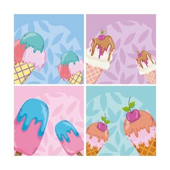 Jeu de caricatures de crème glacée