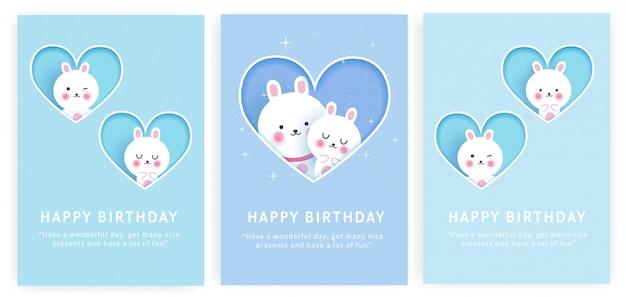 Jeu de carte d'anniversaire avec mignon lapin dans un style papier découpé.