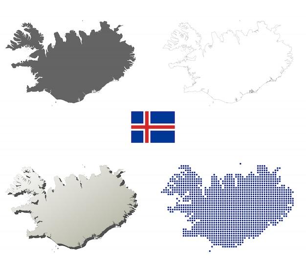Jeu de carte de contour vecteur islande