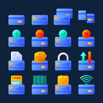 Jeu de carte de crédit dans un style moderne. symboles bancaires colorés de haute qualité pour la conception de sites web et les applications mobiles.